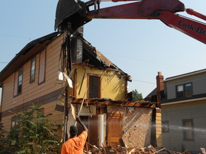 Demolition in Cleveland. Photo by Mhari Saito for NPR