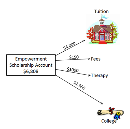 Example of fund allocation in an Empowerment Scholarship Account