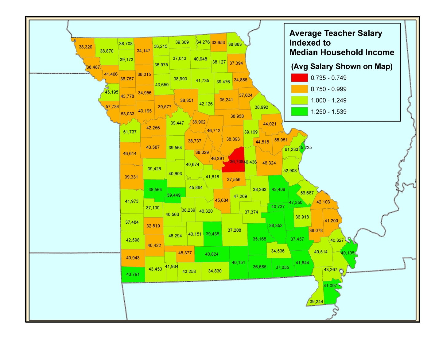 Increasing Teacher Pay From On High Is Simply Bad Policy ShowMe - Us county map salaries