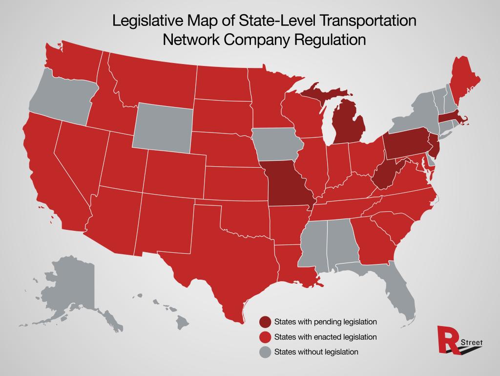 Map of ridesharing legislation by state