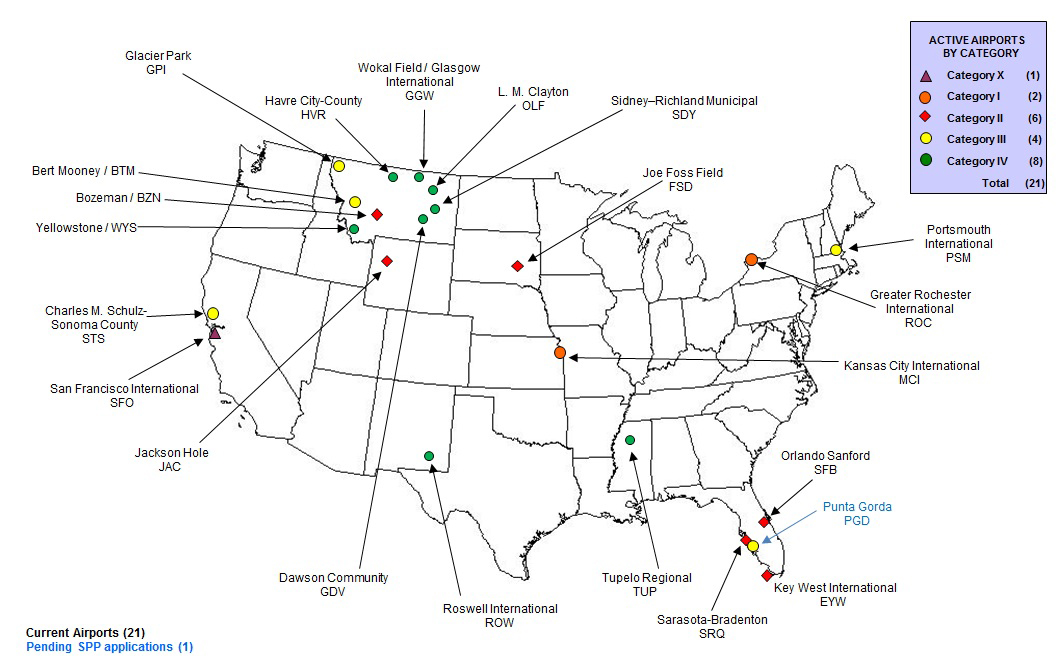 Map showing airports participating in SPP