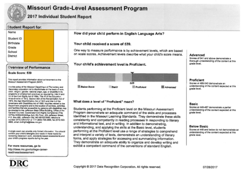 2017 test result printout