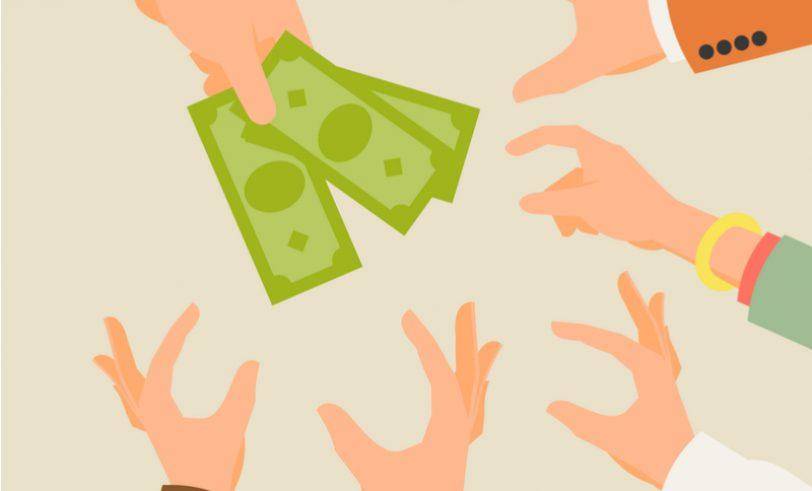 Hands Grabbing Cash