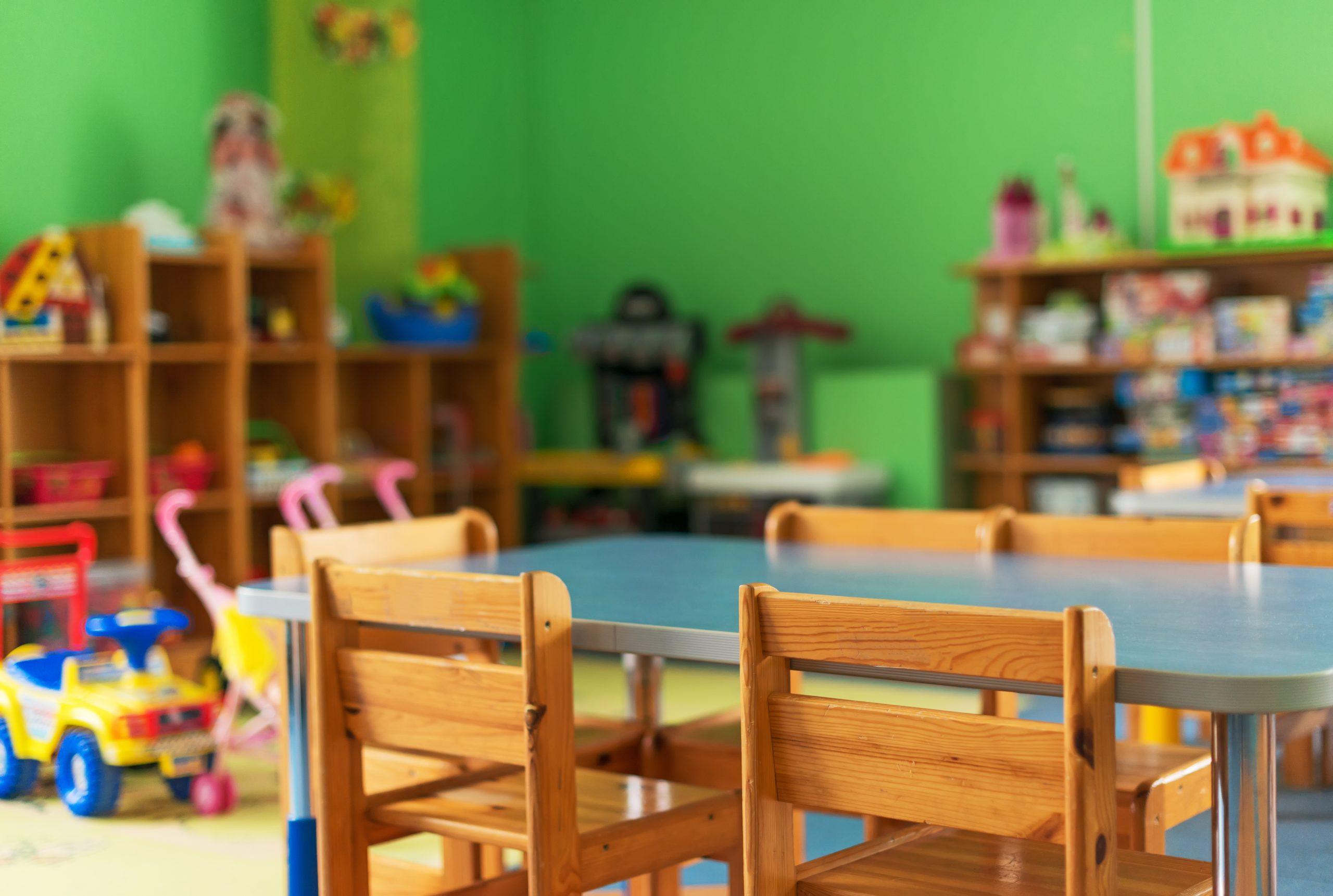 Empty kindergarten classroom
