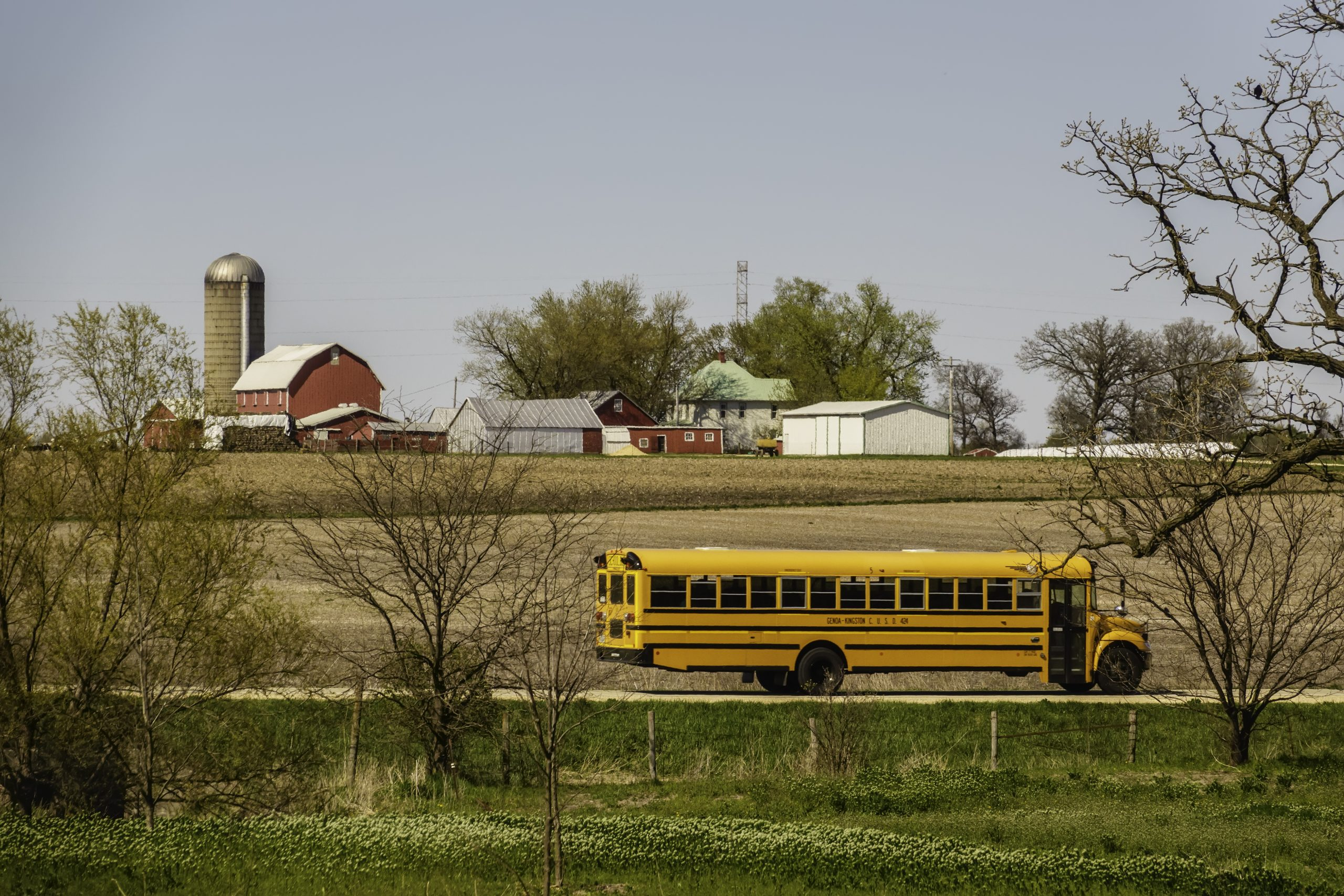 School bus in rural area