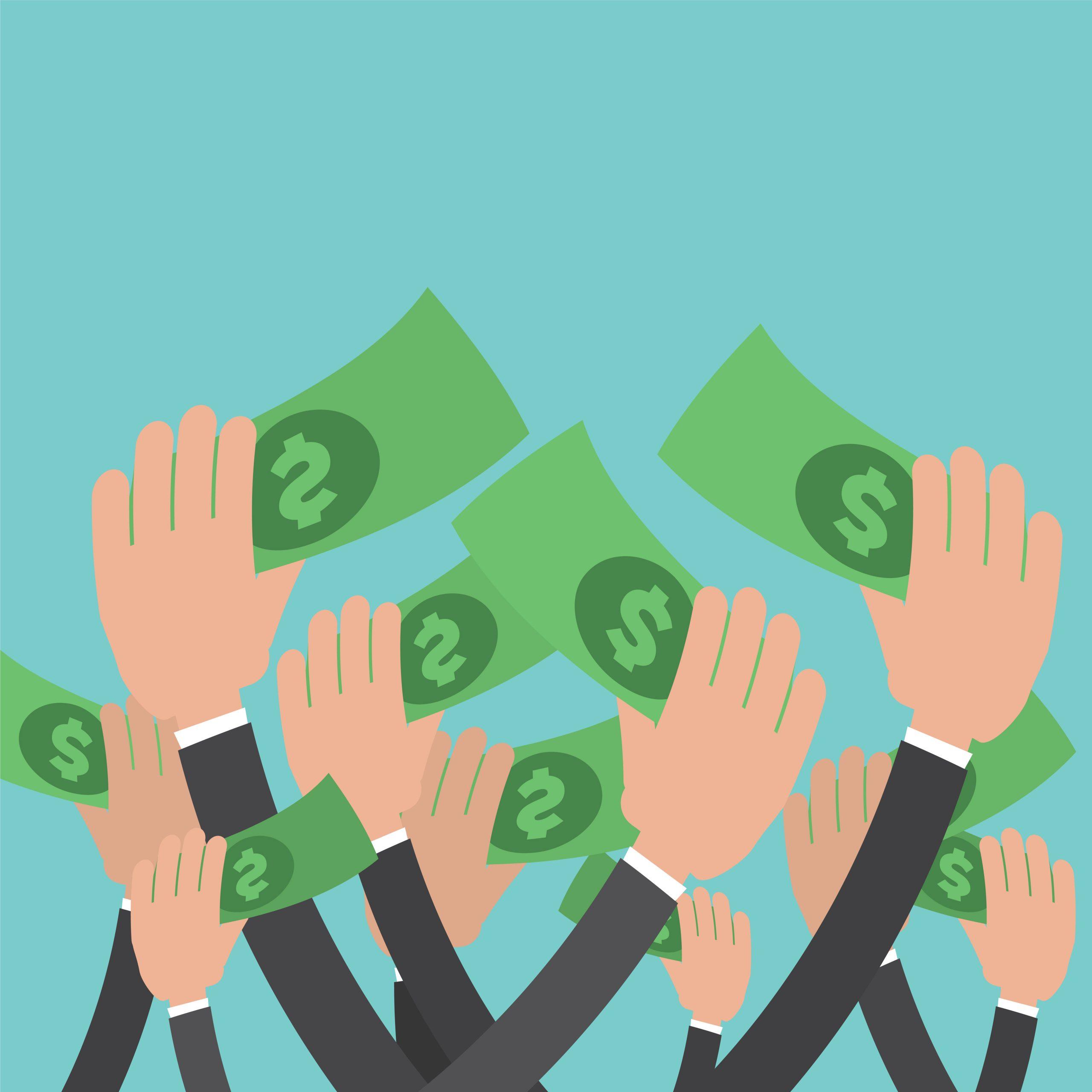 Hands grabbing money
