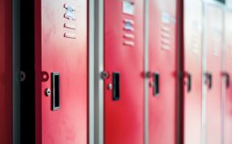 Red school lockers>
