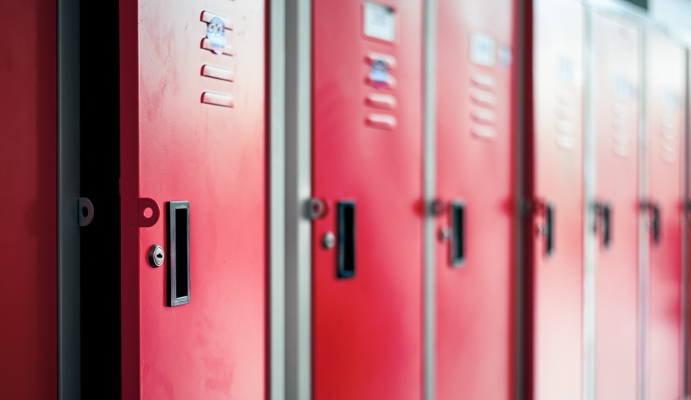 Red school lockers