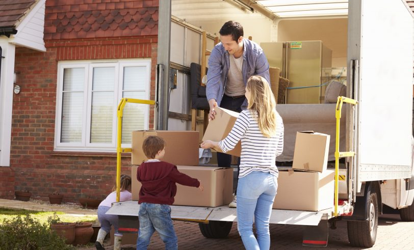 Family with moving truck