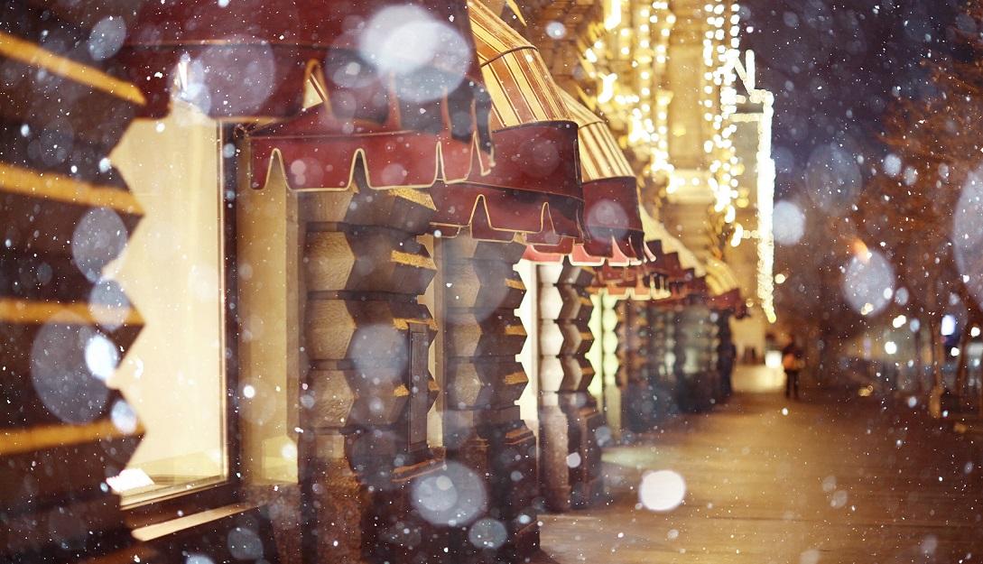 Christmas shopping scene