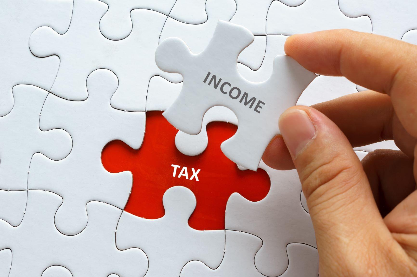 """Income Tax"" puzzle piece"