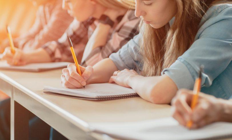 Kids taking exam