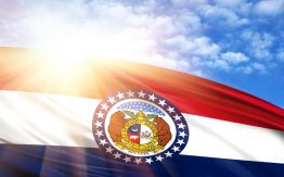 Missouri flag in sunshine>