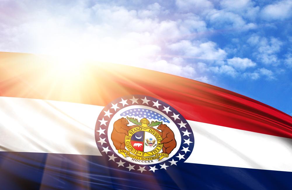 Missouri flag in sunshine