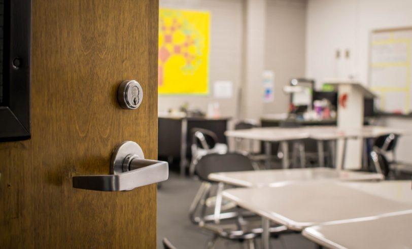 Door to school classroom