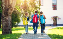Children walking to school>