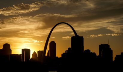 St. Louis at sunset>