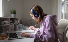 Girl taking online class>