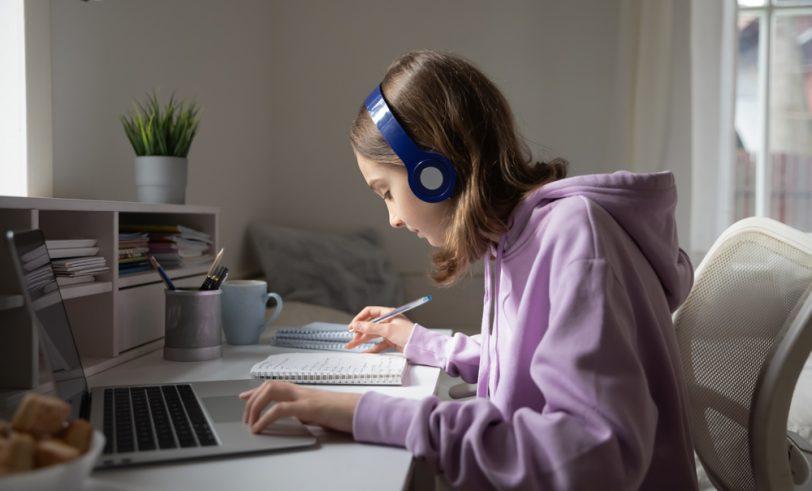 Girl taking online class