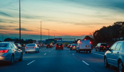 Highway at sunrise>