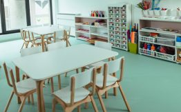 Empty kindergarten classroom>
