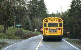 School bus on rural road>