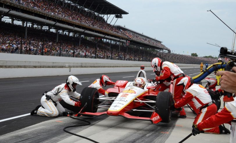 Pit stop during Indy 500