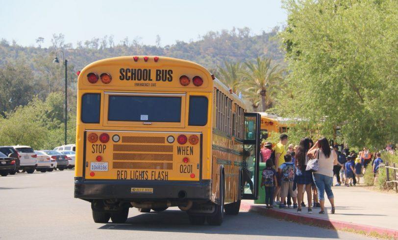 School bus dropping off kids