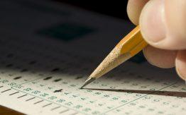 Student taking test>
