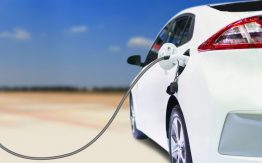 Electric car being charged>